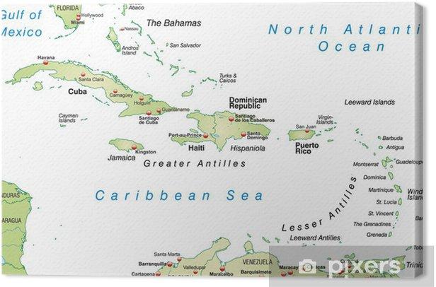 Obraz na płótnie Mapa Bahamów i Indiach Zachodnich - Ameryka