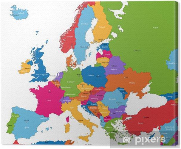 Obraz na płótnie Mapa europy z kolorowych krajów i stolic - Tematy