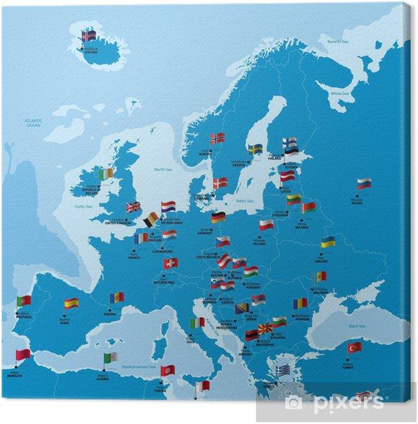 Obraz na płótnie Mapa Europy z państw, stolic i flag - Tematy
