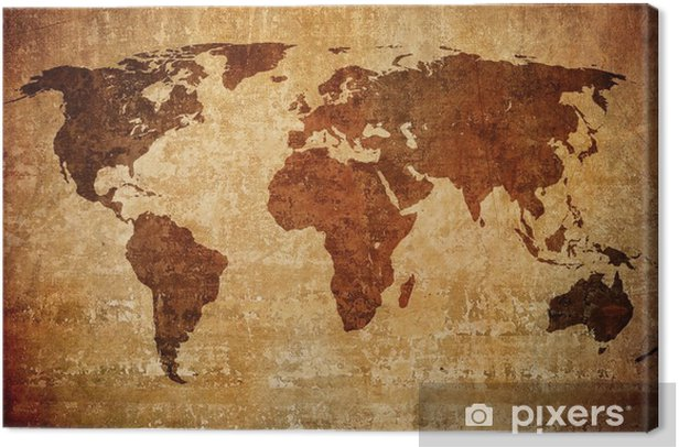 Obraz na płótnie Mapa grunge świata. - Tematy