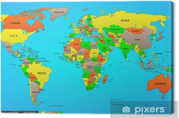 Obraz na płótnie Mapa polityczna świata - Zasoby graficzne