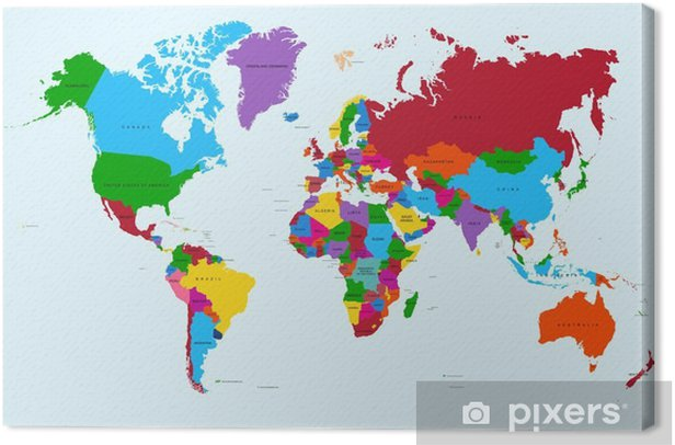 Obraz na płótnie Mapa świata, atlas krajów kolorowe eps10 plik wektorowy. - Tematy