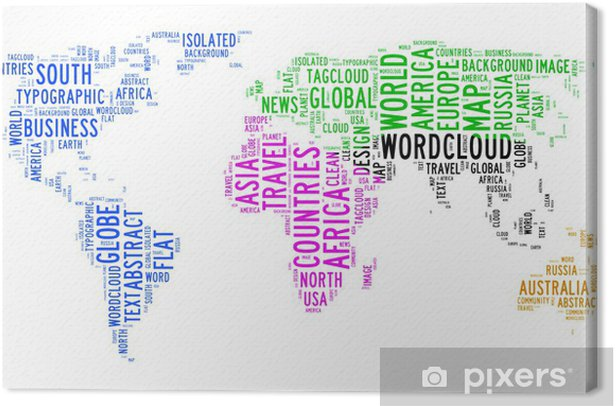 Obraz na płótnie Mapa świata tekst chmura - Wakacje