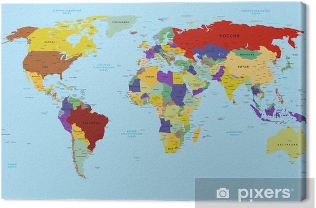 Obraz na płótnie Mapa świata w rosyjski - Tematy