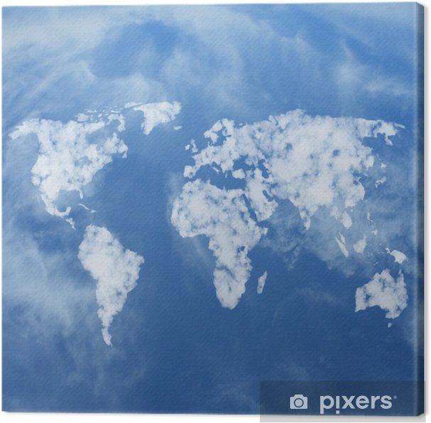 Obraz na płótnie Mapa świata wykonane z chmur - Przestrzeń kosmiczna