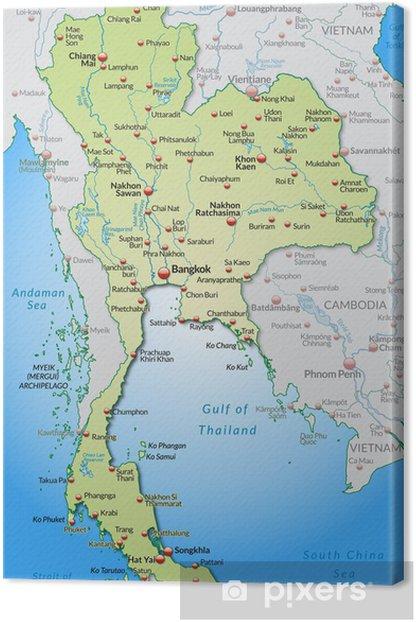 Obraz Na Plotnie Mapa Tajlandii I Okolic Z Kapitalow Pixers