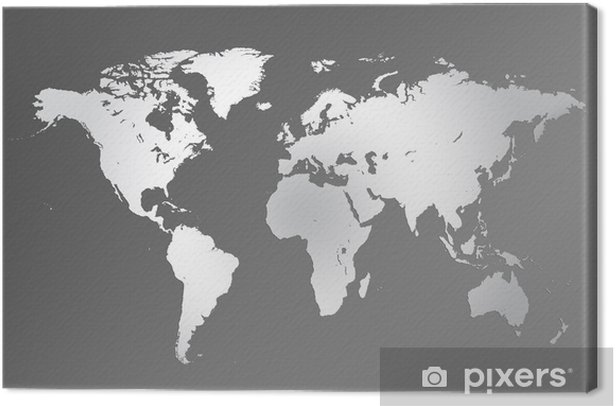 Obraz na płótnie Mapa z powierzchni metalu światowej - Przestrzeń kosmiczna
