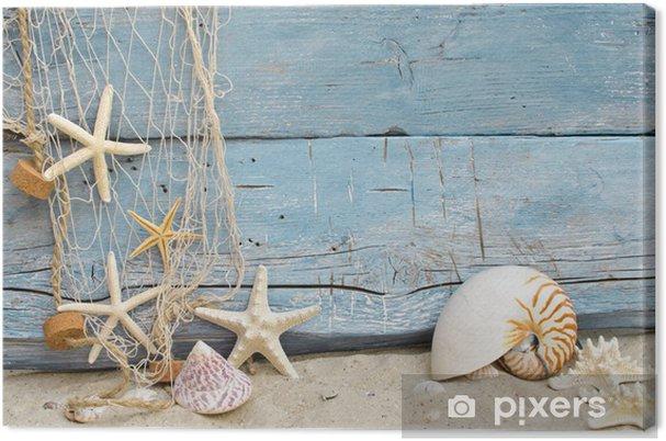 Obraz na płótnie Maritime przypomnienia święto: net muszle, rozgwiazdy i rybołówstwo -