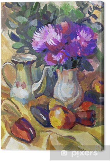 Obraz na płótnie Martwa natura bukiet kwiatów. Ręcznie rysowane w gwaszem - Sztuka i twórczość