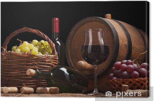 Obraz na płótnie Martwa natura z butelek wina, okulary i dębowych beczkach. - Tematy