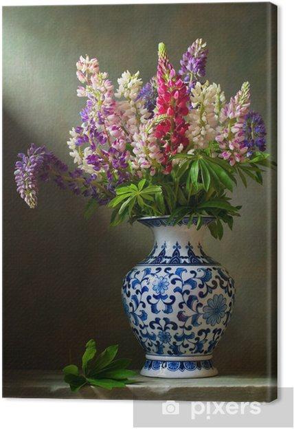 Bardzo dobra Obraz na płótnie Martwa natura z kwiatami w łubinu chiński wazon EK24