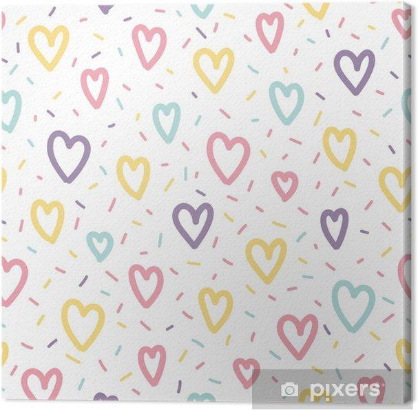 Obraz na płótnie Memphis szwu wzór z serca i konfetti - Zasoby graficzne