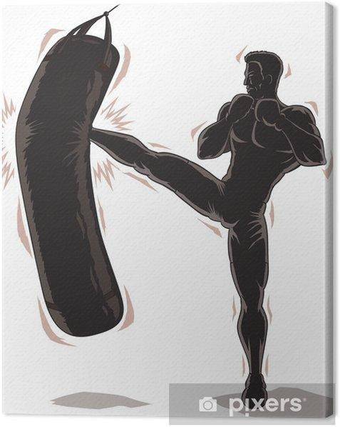 Obraz na płótnie Mężczyzna Outline Kickboxer - Mężczyźni