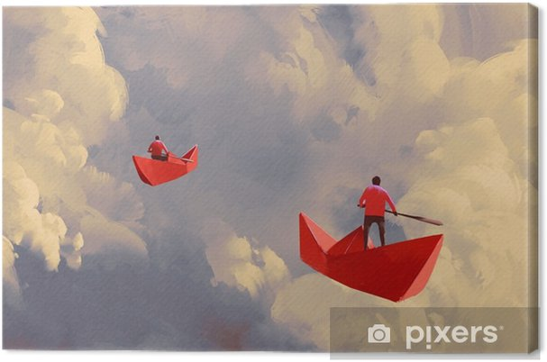 Obraz na płótnie Mężczyźni na origami czerwony papier łodzie pływające w pochmurne niebo, ilustracja malarstwo - Hobby i rozrywka