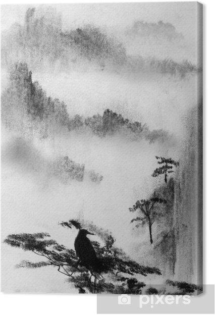 Obraz na płótnie Mgła Góry i sosny - Krajobrazy