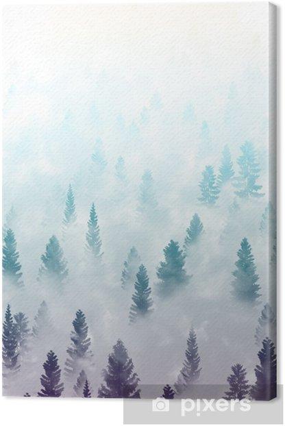 Obraz na płótnie Mglisty krajobraz las - Krajobrazy