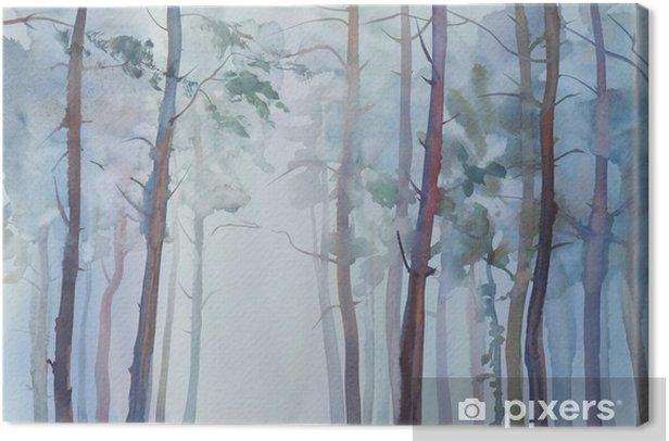 Obraz na płótnie Mglisty las akwarela - Krajobrazy