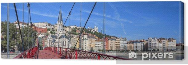 Obraz na płótnie Miasto Lyon z czerwoną kładki na rzece Saone - Europa