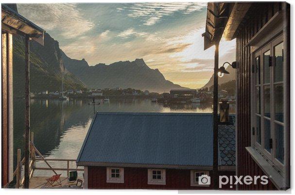 Obraz na płótnie Midnight w sielankowej wiosce rybackiej Reine w Lofoten Islands - Europa