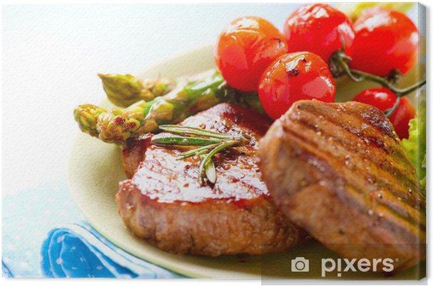 Obraz na płótnie Mięso z grilla Befsztyk nad białym - Posiłki