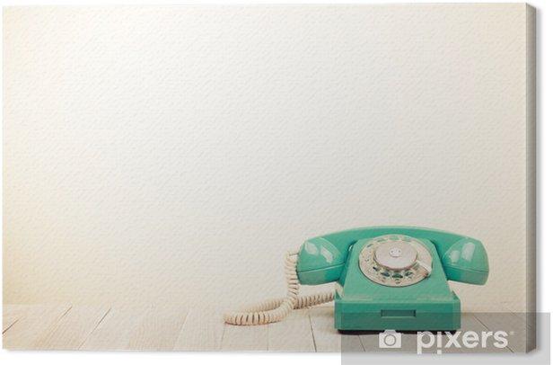 Obraz na płótnie Mięta zielona retro telefon na drewnianym stole - Style