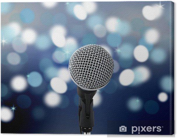Obraz na płótnie Mikrofon z światłach rozmycia w tle. - Rozrywka