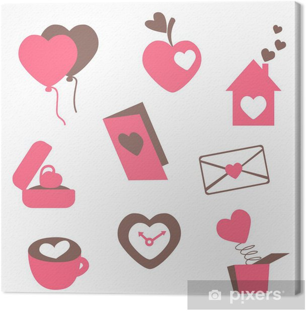 Obraz na płótnie Miłość ikony - dla kart walentynki, zaproszenia, ślubne, engagemen - Szczęście