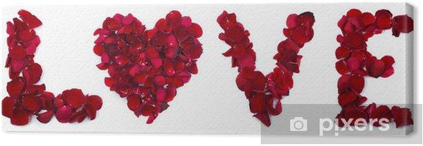 Obraz na płótnie Miłość napisane z liści róży - Tekstury