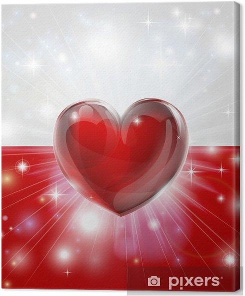 Obraz na płótnie Miłość Polska flaga serca tle - Tematy