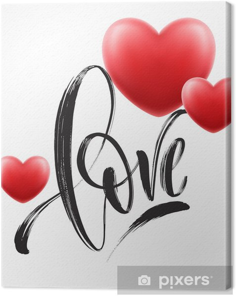 Obraz na płótnie Miłość słowo wyciągnąć rękę napis z czerwonym sercem. ilustracji wektorowych - Zasoby graficzne
