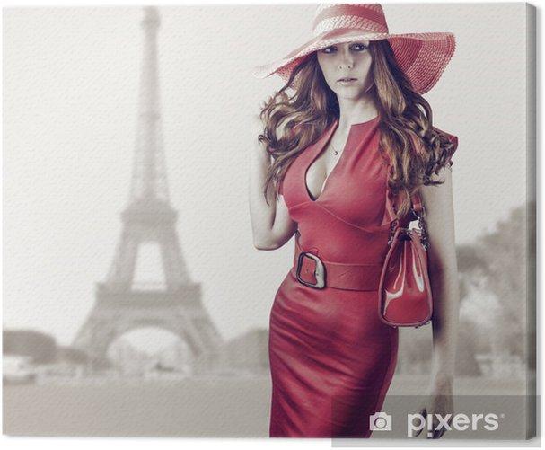 Obraz na płótnie Młoda kobieta piękne w Paryżu, Francja -