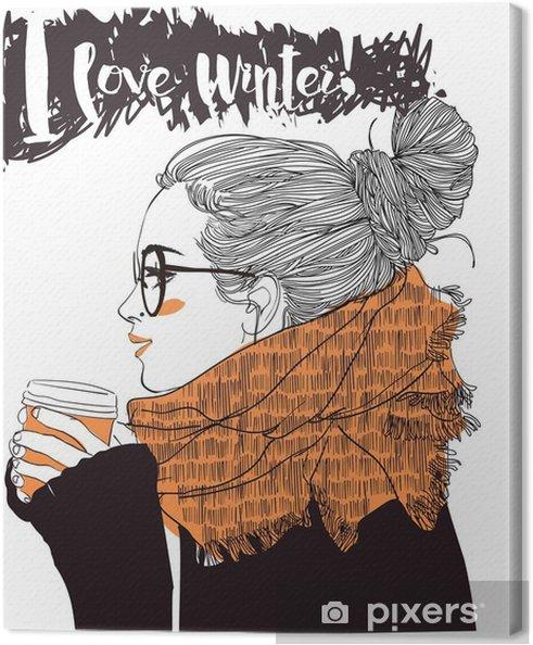 Obraz na płótnie Młoda piękna kobieta z filiżanką kawy - Ludzie