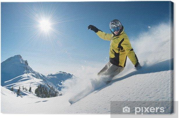 Obraz na płótnie Młoda snowboarder w głębokim proszku - Extreme Freeride - Sporty zimowe