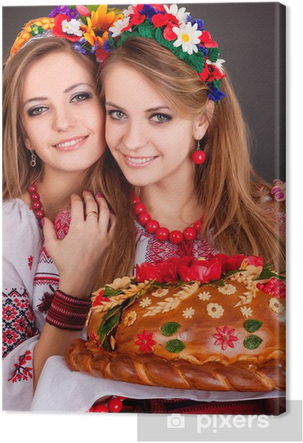 Obraz na płótnie Młode kobiety w ukraińskich ubrania, z wieńca i bochenku - Kobiety
