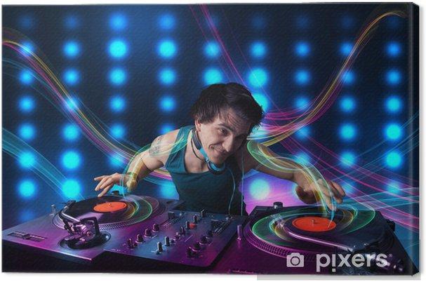 Obraz na płótnie Młodzi DJ mieszanie rekordy z kolorowych świateł - Rozrywka
