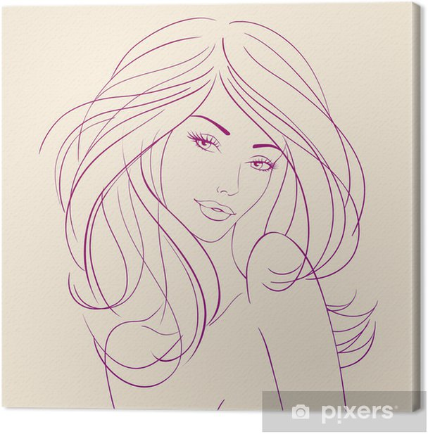 Obraz na płótnie Moda piękna kobieta z długimi falującymi włosami. wektor - Przeznaczenia