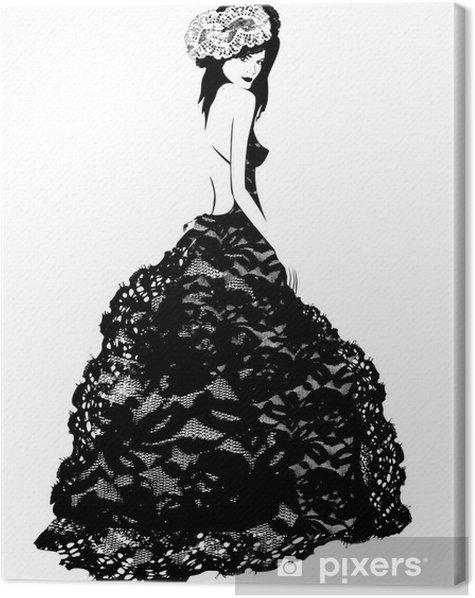 Obraz na płótnie Modnej kobieta w sukni koronki i kapelusz - Kobiety