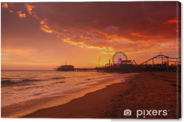 Obraz na płótnie Molo w Santa Monica na zachód słońca - Morze i ocean