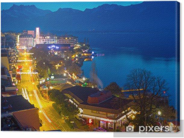 Obraz na płótnie Montreux w nocy - Europa