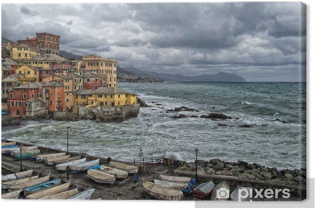 Obraz na płótnie Morze Burza na wsi Boccadasse Genua malowniczy - Woda