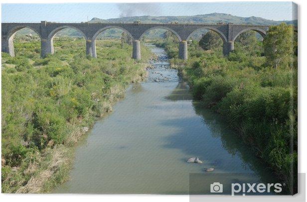 Obraz na płótnie Most kolejowy na rzece Simeto, Sycylia - Woda