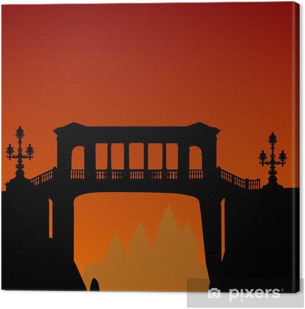 Obraz na płótnie Most nad przepaścią i pomarańczowy zachód słońca - Infrastruktura
