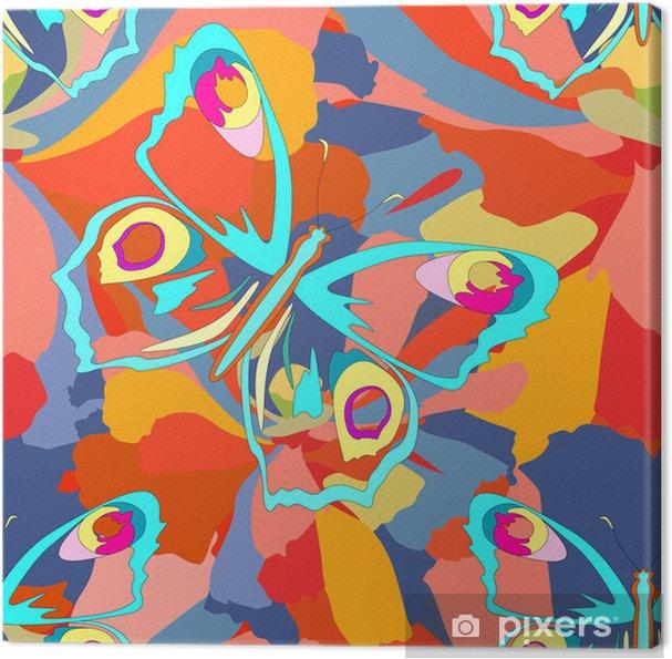 Obraz na płótnie Motyle i kwiaty bez szwu tapety - Inne Inne