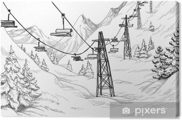 Obraz na płótnie Mountain wyciąg przewodniczy rysunek ołówkiem - Tematy