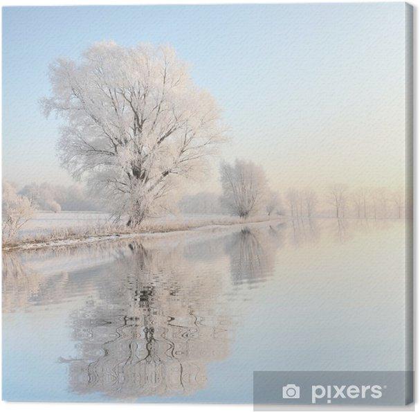Obraz na płótnie Mroźna zima na tle błękitnego nieba z odbicia w wodzie - Style