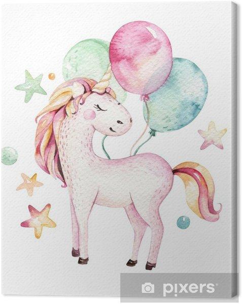Obraz na płótnie Na białym tle ładny akwarela jednorożca clipart. ilustracja jednorożce przedszkola. księżniczka tęcza jednorożce plakat. modny różowy koń kreskówka. - Zwierzęta