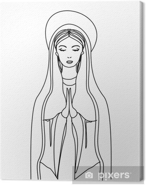 Obraz na płótnie Najświętszej Maryi Panny w czarno-biały kontur rysunku - Religie