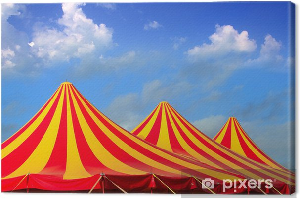 Obraz na płótnie Namiot cyrkowy czerwony pomarańczowy i żółty wzór obnażony - Rozrywka