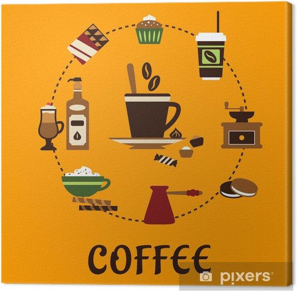Obraz na płótnie Napojów kawowych i deserów płaskie ikony - Posiłki