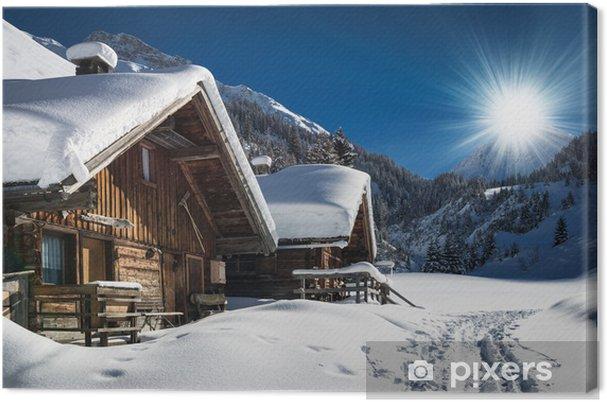 Obraz na płótnie Narciarski i schronisko zimą krajobraz górski chata w śniegu w Tyrolu - iStaging